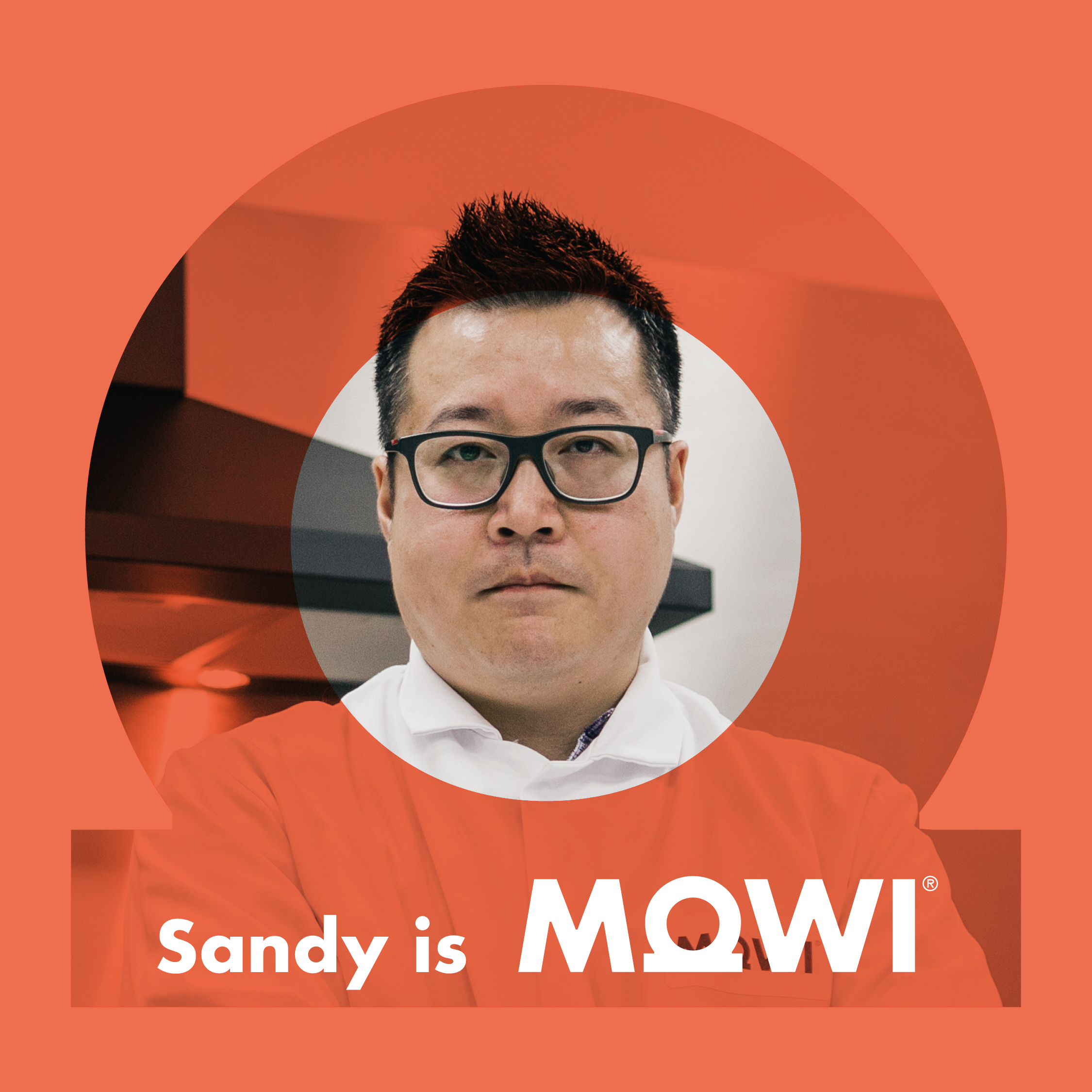 A social media asset for Mowi, showing one of their team members, Sandy