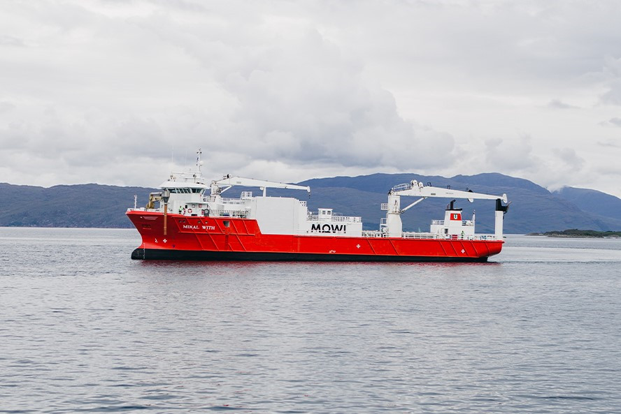 Mowi ship at anchor in the scottish highlands